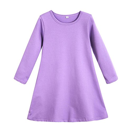Fineser(TM Little Girl's Candy Color Long Sleeve Cotton Soft and Cozy Princess Casual Dress (Purple, 6T)