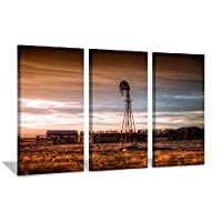 Hardy Gallery Windmill Artwork Rustic Landscape Picture: Farmhouse Painting Wall Art Print on Canvas for Bedroom (16