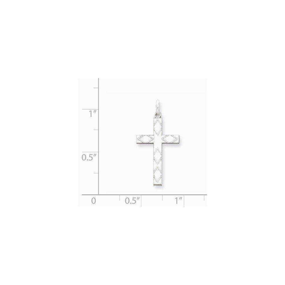 Sterling Silver Laser Designed Cross Pendant 0.98 in x 0.47 in