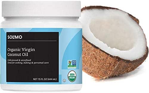 Amazon Brand - Solimo Organic Virgin Coconut Oil, Unrefined, Non-GMO, 15 Fl Oz
