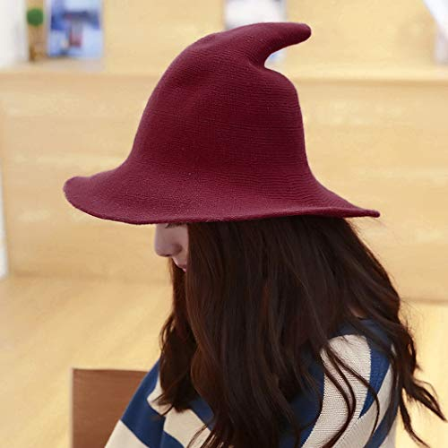 300c5776364 DELAISUS Witch Hat Sheep Wool Christmas Halloween Foldable Costume Ball Sun  Cap for Winter