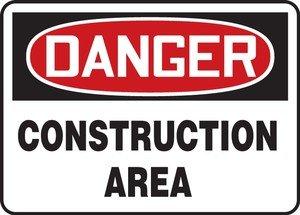 7 x 10 Inches AccuformDanger Construction Area Safety Sign Aluma-Lite MCRT127XL