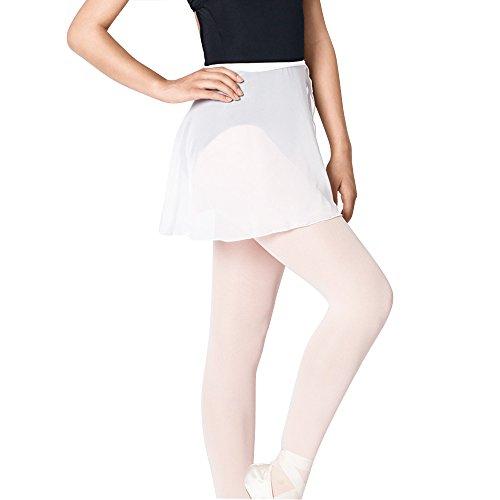 Sportingbodybuilding Ballet Wrap Skirt Chiffon Dance Skirt for Women & Girls(White/Medium) ()