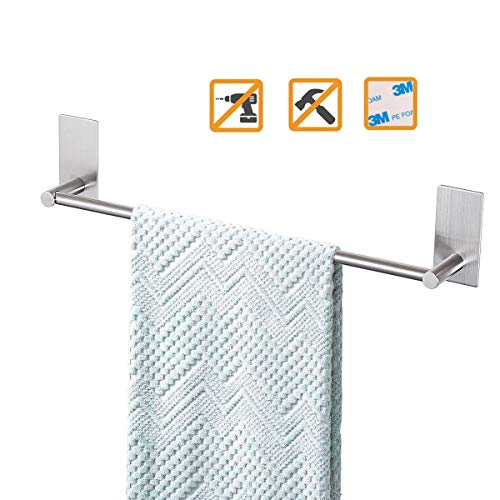 Bathroom Towel Bar 16inch, Easy Install with Self-Adhesive, NO Drilling on Walls, Premium SUS304 Stainless Steel - Brushed (Command Hook Towel Rack)