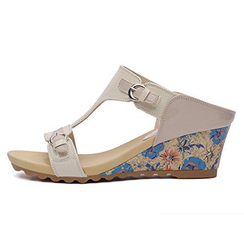 Taille pour épais Sandales C Fond Mme Couleur Chaussures femme Ms Slippers Femmes 39 Chaussures HWF C Été en air Plein Mode 7U6Yqw