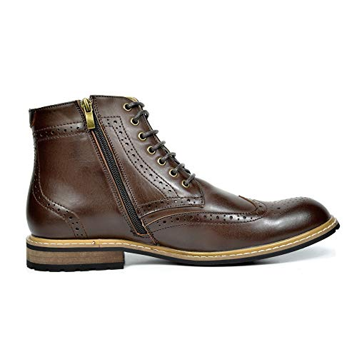 Bruno Marc Men's Bergen-01 Dark Brown Leather Lined Oxfords Dress Ankle Boots – 7.5 M US