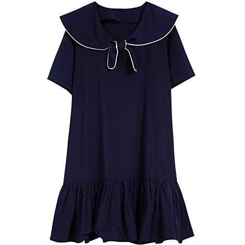 Xmy étudiants d'été robes femmes college wind band collier bleu marine, longue, feuilles de lotus Robe manches courtes bord code sont