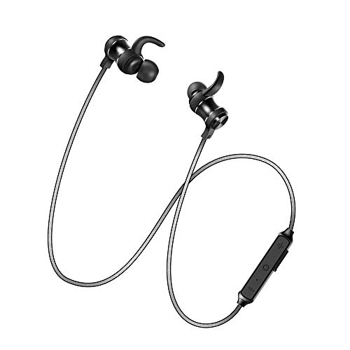 Magnetic Bluetooth Earbuds, Aigo S55 Wireless Sports Earphones, Water-Resistant and Noise-Isolating in-Ear Bluetooth Headphones for Running and Gym with Mic,Compatible for iPhone and Android,Black