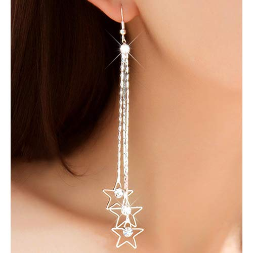 (Sanwood® Women's Pentacle Rhinestone Drop 3 Layers Chain Long Tassels Dangle Earrings (Silver))