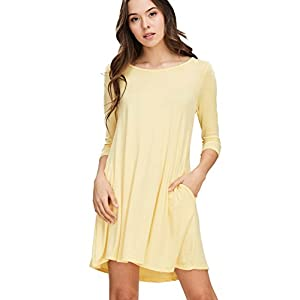 6d46519bd0834f Annabelle Women's Comfy Scoop Neck 3/4 Sleeve Swing Dress with Pockets