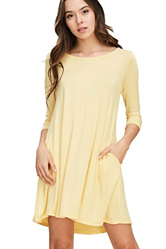 Annabelle Women's Scoop Neck Solid A-Line Fit 3/4 Sleeves Short Length Mini Tunic Dress with Two Side Slant Pockets Banana XXX-Large D5211P -