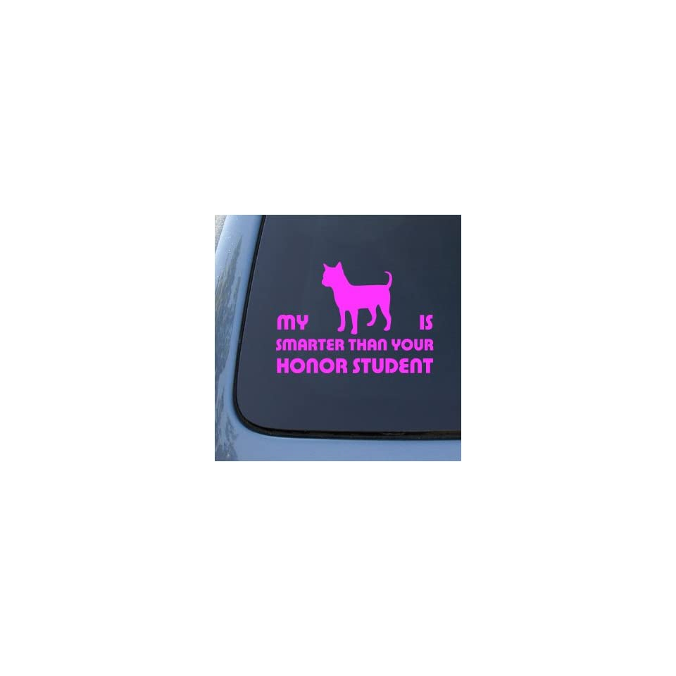 HONOR STUDENT   CHIHUAHUA   Dog Decal Sticker #1527  Vinyl Color Pink
