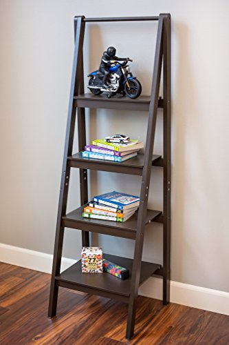 Espresso 4 Tier 'A' frame ladder bookshelf, bookcase