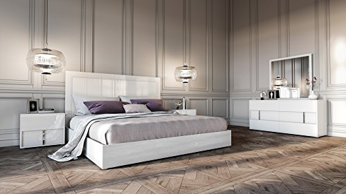 Limari Home LIM-73084 Georges Collection Modern Style Gloss Finished Platform Bed with Headboard, 2 2 Nightstands, 6-Drawer Dresser & Mirror Bedroom Set with Chrome Accents, Eastern King White