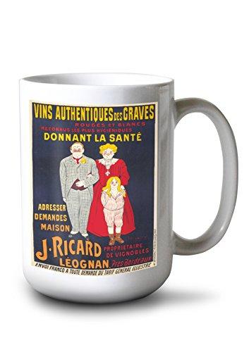 J Ricard Vintage Poster (Artist: Cappiello) France c. 1905 (15oz White Ceramic Mug) (Ricard Poster)