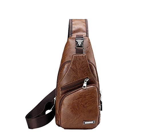 riding Light For outdoor Charging Shoulder Men's Brown body Bag Sports Chest Cross Oyige With Usb Bags xBwH6qvOR