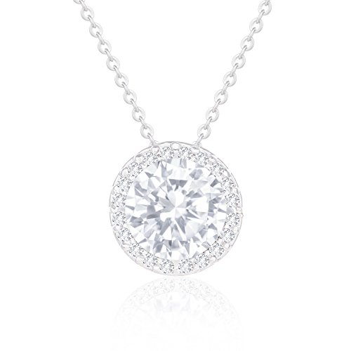 ORROUS & CO Womens 18K White Gold Plated Cubic Zirconia Round Shape Halo Pendant Necklace (3.45 Carats)