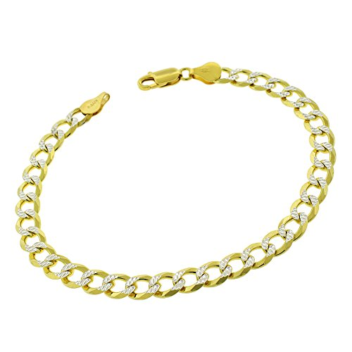 Sterling Silver Italian 7mm Cuban Curb Link Diamond Cut Two-Tone Pave ITProLux Solid 925 Yellow Gold Bracelet Chain 9