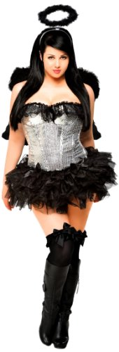 [Daisy Corsets Women's 4 Piece Sequin Dark Angel Costume, Silver, 2X] (1910 Costumes)