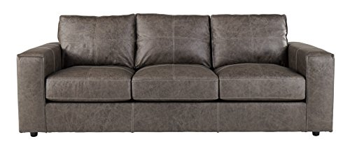 Ashley Furniture Signature Design - Trembolt Contemporary Upholstered Sofa - Smoke Grey (Leather Euro Design Sofa)