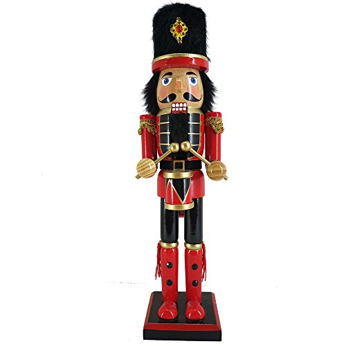 Christmas Holiday Wooden Nutcracker Figure Soldier with Traditional Red Uniform Jacket with Drum and Fur Hat, Gold Tassel Details Large, 15 Inch