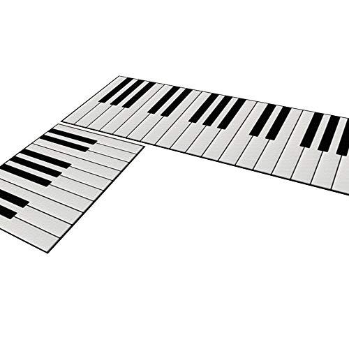 - Ozzptuu 2 Piece Cartoon Design Kitchen Mats Doormat Runner Rug Set with Non-Slip Backing (Piano Key)