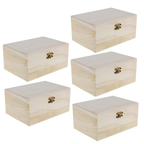 Baosity Pack of 5 Unfinished Wood Treasure Chest Boxes for DIY Wooden Craft