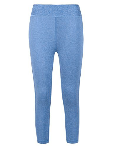 REGNA X NO BOTHER Women's Fitness Power flex Yoga Pants Stretchy solid Leggings,Long_heather Blue,Medium (3/4 Power Stretch Pant)