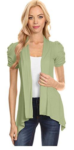 Simlu Open Front Cardigans for Women Ruched Short Sleeve Flyaway Cardigan - USA (Size Large US 8-10, Sage)