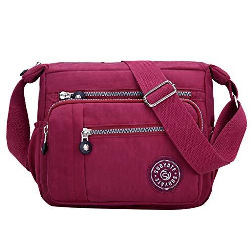 ONLY TOP Crossbody Bag for Women, Multi-Pocketed Nylon Shoulder Bag Purse Travel Passport Bag Messenger Bag