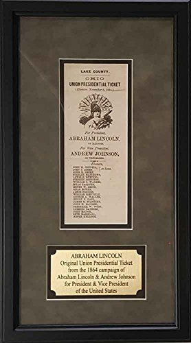 Authentic Civil War (President Abraham Lincoln Original & Authentic 1864 Election Campaign Ballot Ticket With Archival Quality Framing)