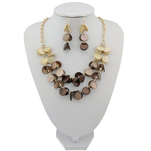 Casual Necklace (BOCAR 2 Layer Statement Choker Shell Necklace and Earring Set for Women Gift (NK-10248-beige+brown))