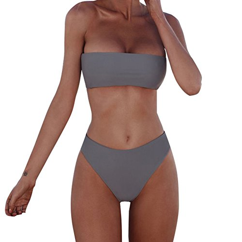 (XUNYU Women Bikini Set Bandeau Strapless Swimsuits Two Pieces Solid Bathing Suit Beach Wear)
