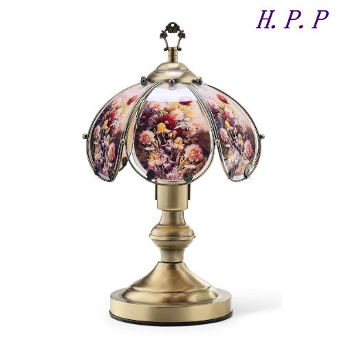 - 14.3''H NEW Glass Floral Touch Table Lamp comes with Gold Finish Base