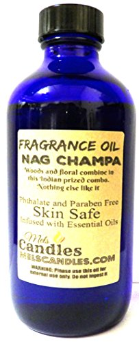 Nag Champa 8 Oz Blue Glass Bottle of Premium Grade A Fragrance Oil/Essential Oil, Skin Safe Oil, Use in Candles, Soap, Lotions, Etc
