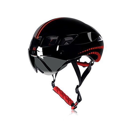 Anharluka Road/Mountain Bike Helmet with Detachable Magnetic Shield Visor (Goggle), for Multi-sport (Black)
