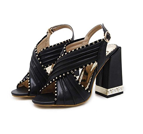 Onfly 11cm Chunkly Heel Peep Toe Correa cruzada Slingbacks Sandalias Zapatos de vestir Mujer Bomba Pure Color Hueco Remaches Pearl Deco Roma Zapatos OL Court Shoes Party Zapatos Eu Tamaño 34-40 Negro