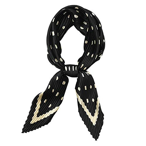 Aland Leopard Dots Print Women Crinkled Silky Square Scarf Headband Neckerchief Wrap Korean Version of The Pleated Small Square Scarf Female Diamond Small Scarf Professional 14#