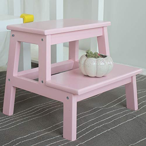 JZX Children's Step Stool, Solid Wood Adult Step Stool, Flower Stand,Pink