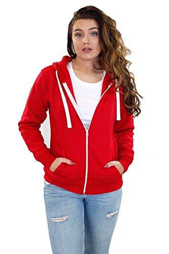 True Face Nuovo donne a tinta unita in pile con cerniera e cappuccio felpa con cappuccio con zip Red