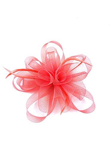Coral Hair Flower Fascinator on a Hair band Headband Looped  Rose Weddings Races