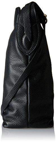 Caterina Lucchi Damen Le Fibbie Schultertasche, Schwarz (Black), 13x31x30 cm