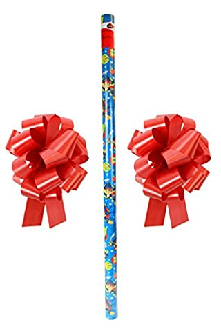 New Disney Jake the Pirate Christmas Wrapping Paper & 2 Red Bows (Jake Wii)