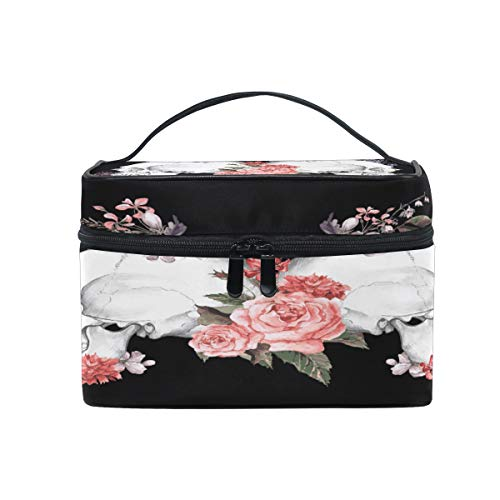 XLING Makeup Bag Halloween Floral Flower Skull Cosmetic Case Travel Portable Carry Cosmetic Brush Box Organizer Storage for Women