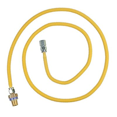 """BrassCraft CSSL45R-72 P Safety PLUS Gas Appliance Connector with 3/8"""" OD EFV and 1/2"""" MIP x 1/2"""" FIP x 72"""""""