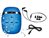 Sigomatech 【2018 New Version】 HiFi Sound Waterproof MP3 Player for Swimming and Running,Underwater Headphones with Short Cord(3 Types Earbuds), Shuffle Feature