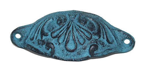 - Retro/Vintage Cast Iron Patina Bin Cup Drawer Pulls (turquoise) Set of 6