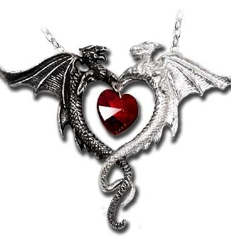 (Womens Coeur Sauvage Heart And Dragons Pewter Pendant Necklace )