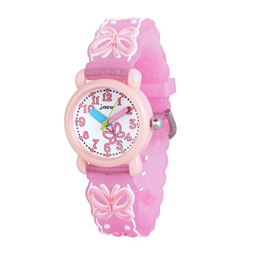 Price comparison product image Wolfteeth Grade School Girls Analog Wrist Watch Water Resistant Sport Watch School Day Christmmas Gift Unique TransparencyWatchband Pink Butterfly 308302