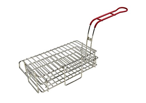 Tiger Chef Stainless Steel Chimichanga Burrito Fry Basket 11-1/2″ x 6″ x 3-7/8″, With A 9″ Heat-Safe Plastic-Coated Wire Handle